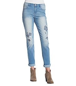 Black Daisy Katie Cuff Floral Embroidery Raw Hem Jeans