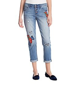 Black Daisy Jamie Butterfly & Floral Embroidery Boyfriend Jeans