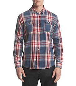 Retrofit Men's Long Sleeve Plaid Denim Button Down Shirt
