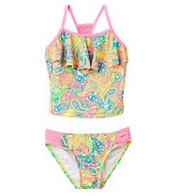 Breaking Waves Girls' 4-6X Paisley Tropical Tankini