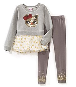 Nannette Girls' 2T-6X Cat Sweatshirt And Glitter Skirt Set