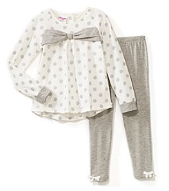 Nannette Girls' 2T-6X Glitter Long Sleeve Fleece Top And Bow Leggings Set