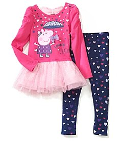 Peppa Pig Girls' 2T-6X Peppa Pig Long Sleeve Top And Leggings Set