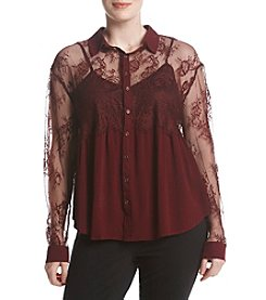 Skylar & Jade by Taylor & Sage Plus Size Lace Button Down Top