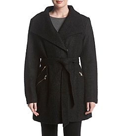 GUESS Belted Wrap Boucle Coat