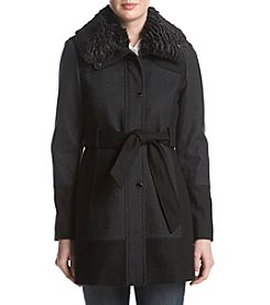 GUESS Faux Fur Collar Belted Walker Coat