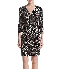 Anne Klein Geometric Pattern Wrap Dress