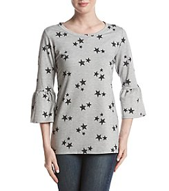Relativity Bell Sleeve Star Print Sweatshirt