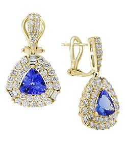 Effy 14K Yellow Gold Diamond Tanzanite Earrings