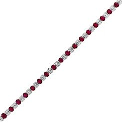 Effy Hematian by Effy 18K White Gold Natural Ruby and Diamond Bracelet