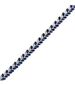Effy 14K White Gold Natural Sapphire and Diamond Bracelet