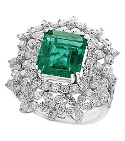 Effy Hematian by Effy 18K White Gold Natural Emerald and Diamond Ring