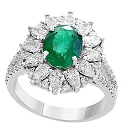 Effy 14K White Gold Natural Emerald and Diamond Ring