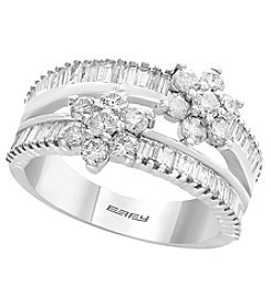 Effy 14K White Gold Diamond Flower Ring
