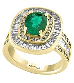 Effy 14K Yellow Gold Diamond and Natural Emerald Ring