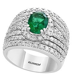 Effy 14K White Gold Diamond and Natural Emerald Ring