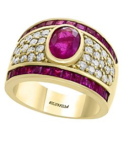Effy 14K Yellow Gold Diamond and Natural Ruby Ring