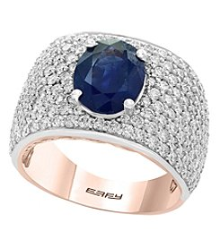 Effy 14K White and Rose Gold Diamond and Natural Sapphire Ring