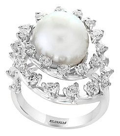 Effy 14K White Gold 11.5mm Freshwater Pearl and Diamond Ring