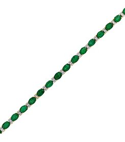 Effy 14K Yellow Gold Diamond and Natural Emerald Bracelet