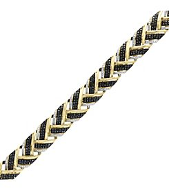 Effy 14K Yellow and White Gold Black Diamond Bracelet