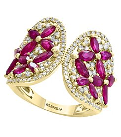 Effy 14 Yellow Gold Diamond and Natural Ruby Ring