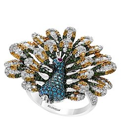 Effy 14K White Gold Multi Color Diamond Peacock Ring