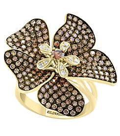 Effy 14K Yellow Gold Diamond and Espresso Diamond Flower Ring