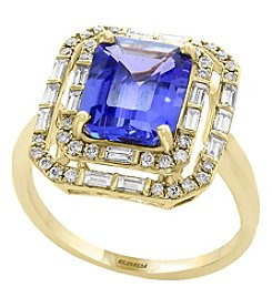 Effy 14K Yellow Gold Diamond and Tanzanite Ring