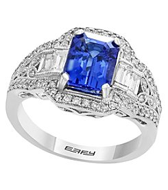 Effy 14K White Gold Diamond and Tanzanite Ring