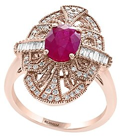 Effy 14K Rose Gold Diamond and Natural Ruby Ring