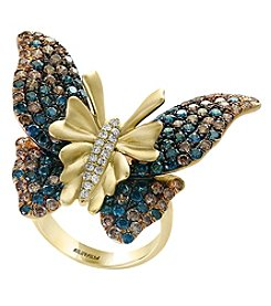 Effy 14K Yellow Gold Diamond Butterfly Ring