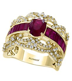 Effy 14K Yellow Gold Natural Ruby and Diamond Ring