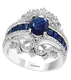 Effy 14K White Gold Diamond and Natural Sapphire Ring