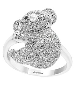 Effy 14K White Gold White and Black Diamond Koala Bear Ring