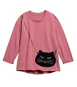 Jessica Simpson Girls' 7-16 Frankie Cat Purse Sweatshirt