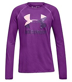 Under Armour Girls' 7-16 Big Logo Slash Long Sleeve Tee