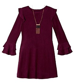 A. Byer Girls' 7-16 Long Sleeve Ruffle Sweater Dress
