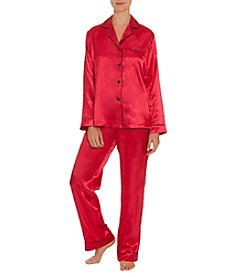 Linea Donatella Red Satin Pajama Set