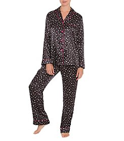 Linea Donatella Black Dot Satin Pajama Set