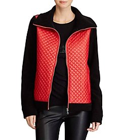 Lauren Ralph Lauren Red Quilted Bodice Jacket