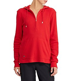Lauren Ralph Lauren Half Zip Closure Hooded Sweatshirt