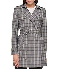 Tommy Hilfiger Plaid Tie Belt Trench Coat
