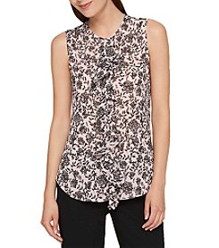 Tommy Hilfiger Floral Pattern Ruffle Front Top