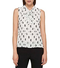 Tommy Hilfiger Abstract Print Tie Neckline Top