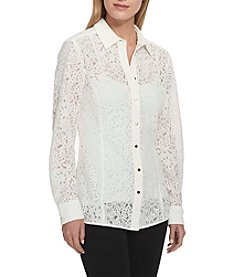Tommy Hilfiger Lace Illusion Button Up Top