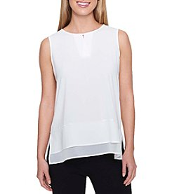 Tommy Hilfiger Double Layer Sheer Keyhole Cutout Tank Top