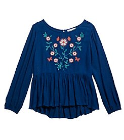 Jessica Simpson Girls' 7-16 Long Sleeve Embroidered Top