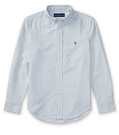 Polo Ralph Lauren Boys' 2T-20 Long Sleeve Striped Cotton Oxford Shirt