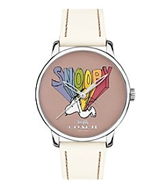 COACH x Peanuts® WOMEN'S 40mm SNOOPY WHITE LEATHER STRAP WATCH
